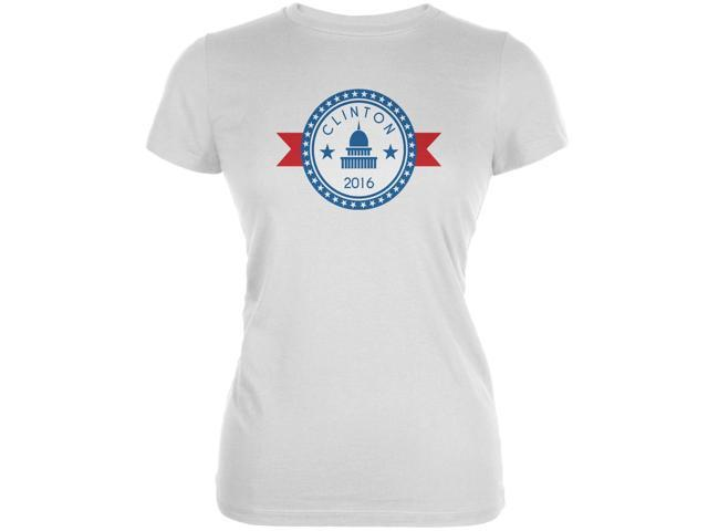 Election 2016 - Clinton 2016 Badge  White Juniors Soft T-Shirt