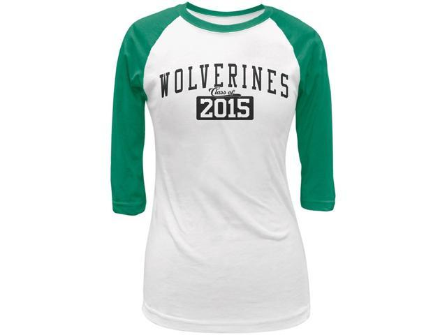 Graduation - Wolverines Class of 2015 White/Kelly Green Juniors 3/4 Raglan T-Shirt