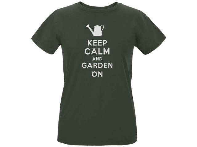 Mother's Day - Keep Calm & Garden On Ladies Organic City Green T-Shirt