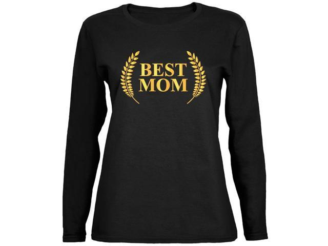 Mothers Day - Best Mom Laurel Black Ladies Long Sleeve T-Shirt