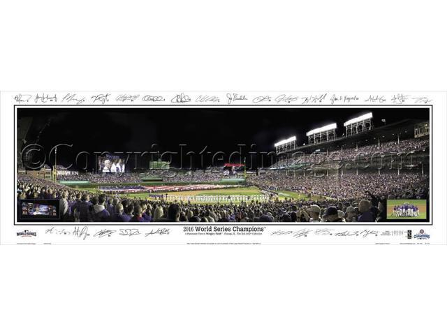 Chicago Cubs 2016 WS Game 3 Wrigley Field w/Game Inserts Facsimile Signs - 13.5x39 Unframed Panoramic Poster #2115