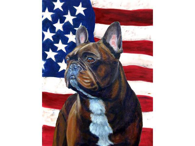 USA American Flag with French Bulldog Flag Garden Size
