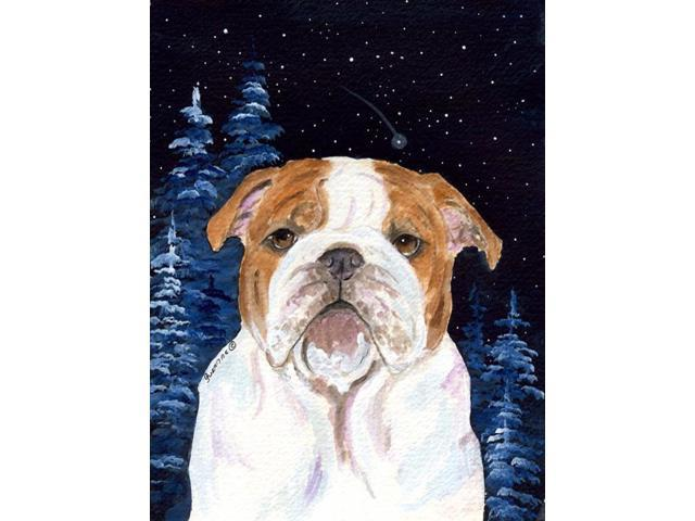 Starry Night English Bulldog Flag Garden Size