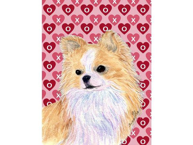 Chihuahua Hearts Love and Valentine's Day Portrait Flag Garden Size
