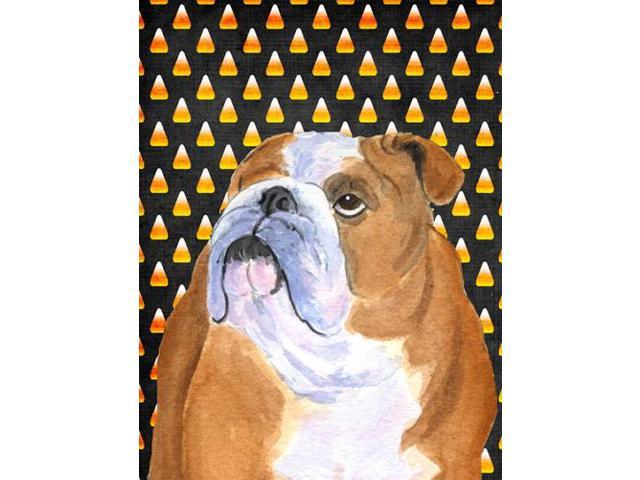 Bulldog English Candy Corn Halloween Portrait Flag Garden Size
