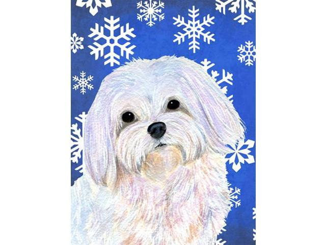 Maltese Winter Snowflakes Holiday Flag Garden Size