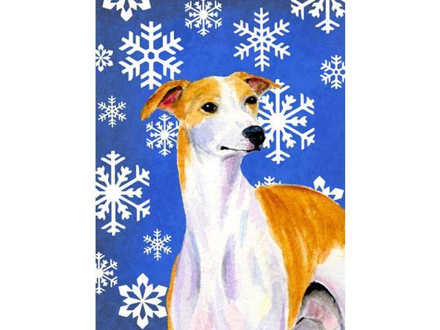 Whippet Winter Snowflakes Holiday Flag Garden Size