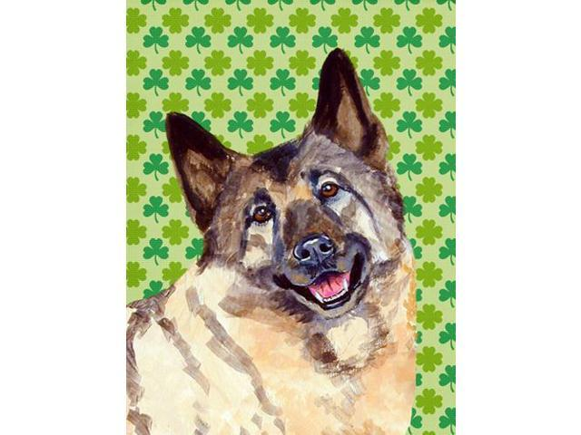 Norwegian Elkhound St. Patrick's Day Shamrock Portrait Flag Garden Size