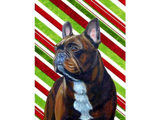 French Bulldog Candy Cane Holiday Christmas  Flag Garden Size