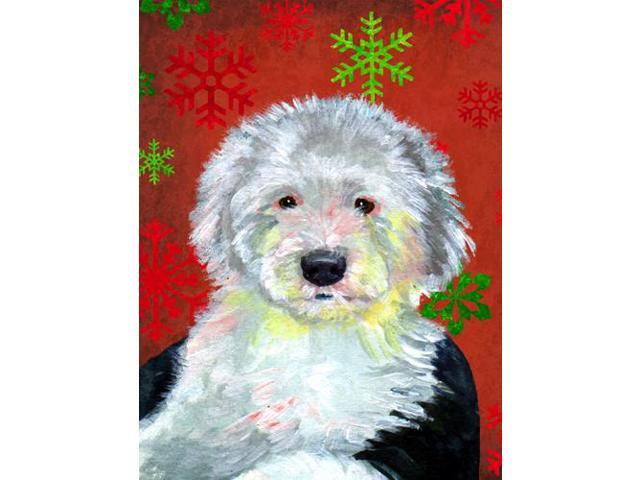 Old English Sheepdog Red  Green Snowflakes Holiday Christmas Flag Garden Size