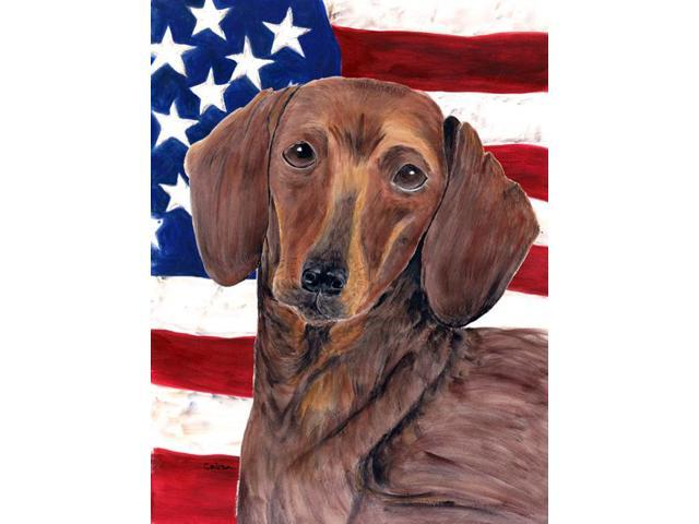 USA American Flag with Dachshund Flag Garden Size