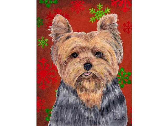 Yorkie Red and Green Snowflakes Holiday Christmas Flag Garden Size