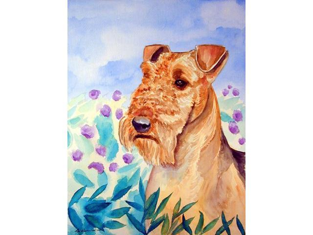 Airedale Terrier in Flowers Flag Garden Size