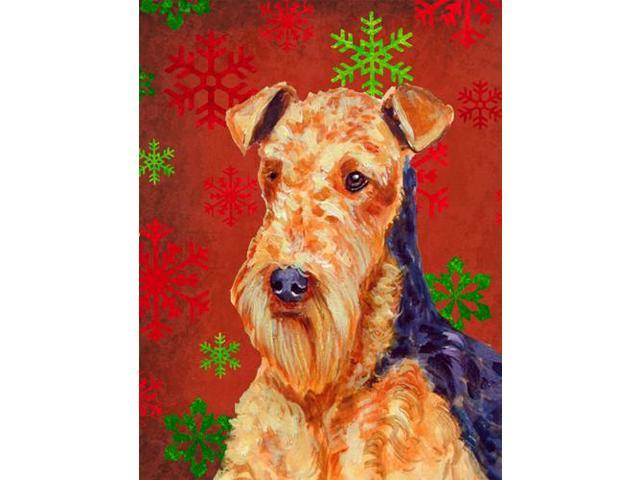 Airedale Red and Green Snowflakes Holiday Christmas Flag Garden Size