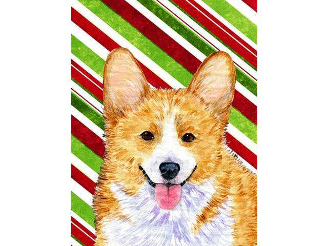 Corgi Candy Cane Holiday Christmas Flag Garden Size