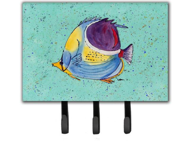 Tropical fish on teal leash or key holder for Fish on a leash