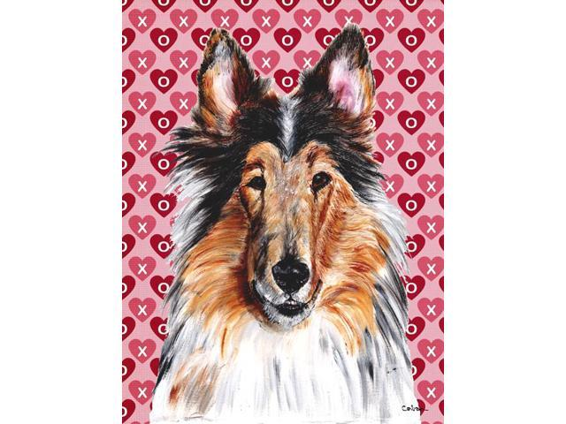 Carolines Treasures SC9694GF Collie Hearts and Love Flag Garden Size
