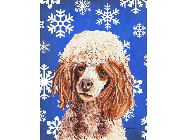 Carolines Treasures SC9771GF Red Miniature Poodle Winter Snowflakes Flag Garden Size