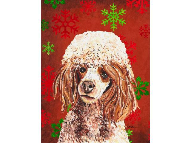 Carolines Treasures SC9747GF Red Miniature Poodle Red Snowflakes Holiday Flag Garden Size