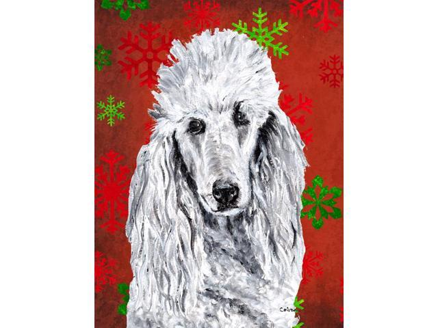 Carolines Treasures SC9751GF White Standard Poodle Red Snowflakes Holiday Flag Garden Size
