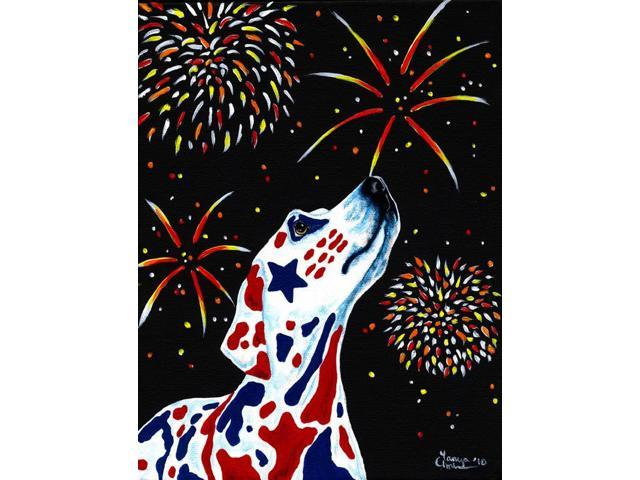 For our Heros Fireworks Patriotic Dalmatian Flag Garden Size AMB1451GF