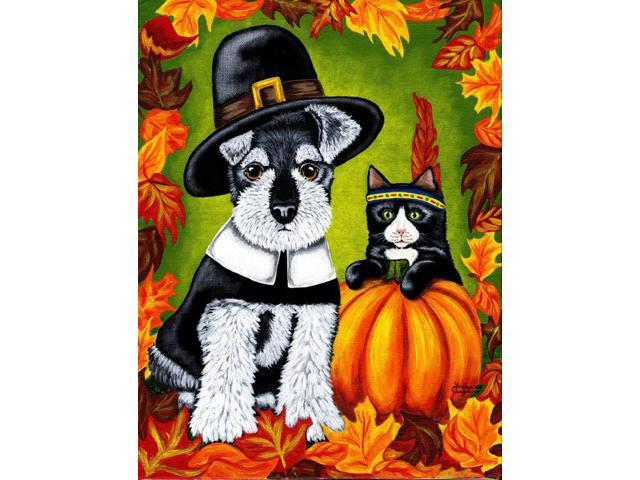 Thanksgiving Friends Schnauzer Flag Canvas House Size AMB1364CHF