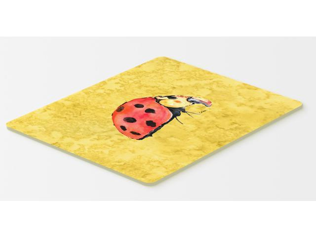 lady bug on yellow kitchen or bath mat 20x30