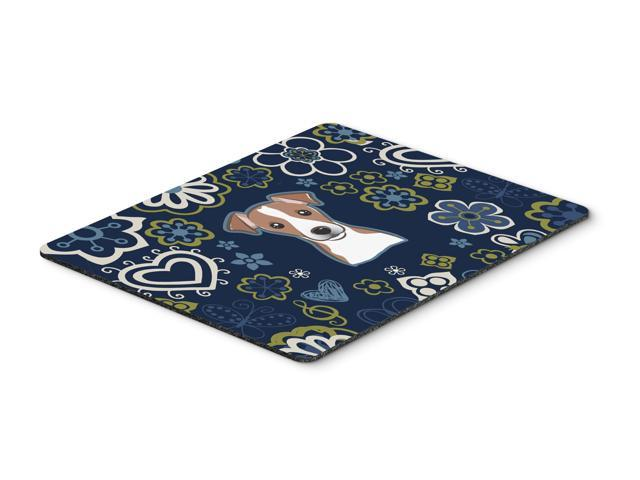 Blue Flowers Jack Russell Terrier Mouse Pad, Hot Pad or Trivet BB5111MP