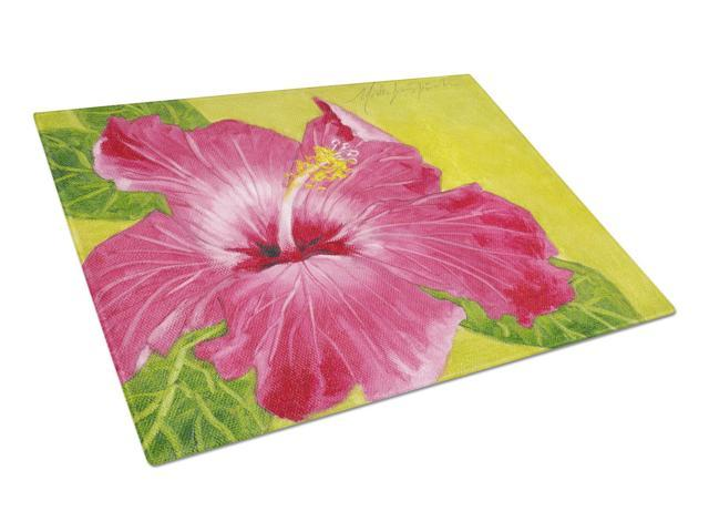 Hot Pink Hibiscus by Malenda Trick Glass Cutting Board Large TMTR0317LCB
