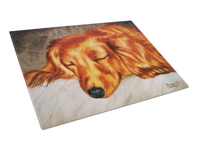 Red Longhaired Dachshund Glass Cutting Board Large AMB1202LCB