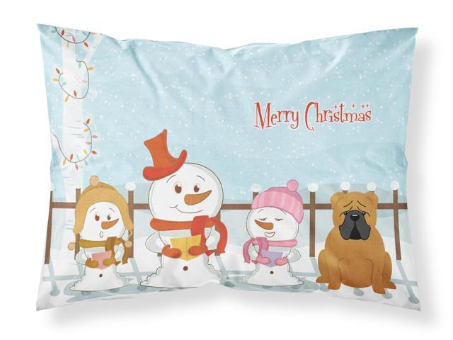 Merry Christmas Carolers English Bulldog Red Fabric Standard Pillowcase BB2453PILLOWCASE