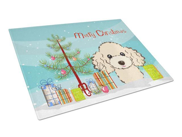 Christmas Tree and Buff Poodle Glass Cutting Board Large BB1630LCB
