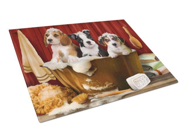 Beagle, Boston Terrier and Jack Russel in the Tub Glass Cutting Board Large PTW2047LCB