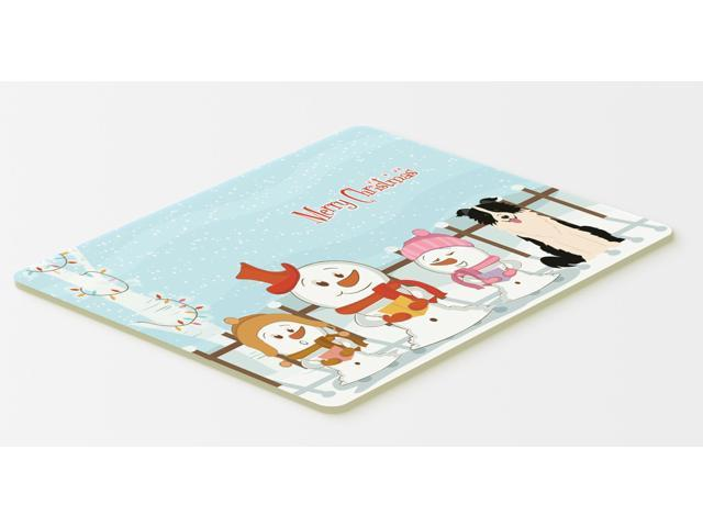 Merry Christmas Carolers Border Collie Black White Kitchen or Bath Mat 20x30 BB2449CMT