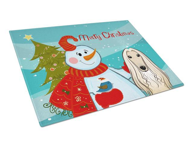 Snowman with Afghan Hound Glass Cutting Board Large BB1864LCB