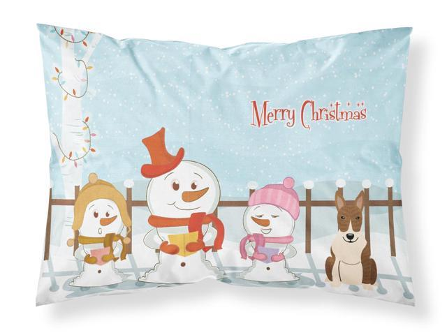 Merry Christmas Carolers Bull Terrier Brindle Fabric Standard Pillowcase BB2468PILLOWCASE