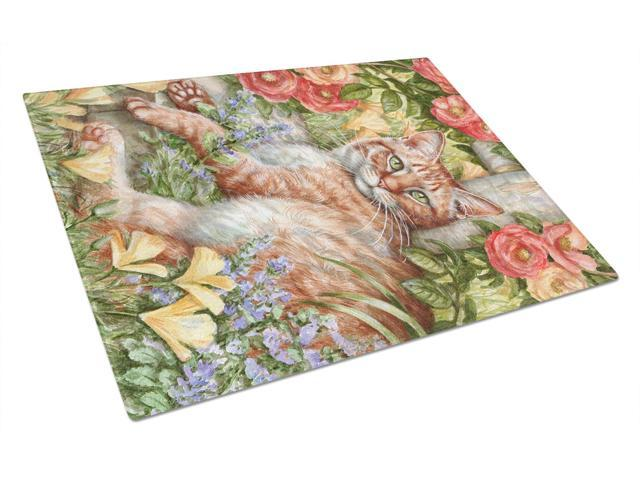Tabby In The Roses by Debbie Cook Glass Cutting Board Large CDCO0027LCB