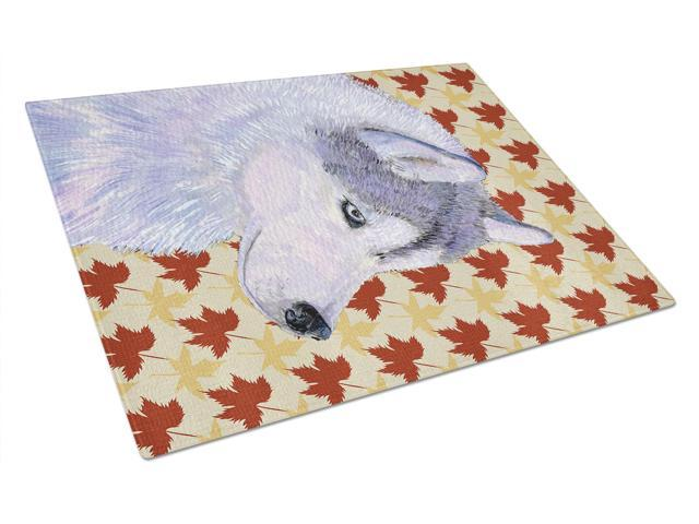 Siberian Husky Fall Leaves Portrait Glass Cutting Board Large