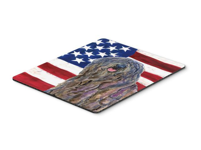USA American Flag with Bergamasco Sheepdog Mouse Pad, Hot Pad or Trivet