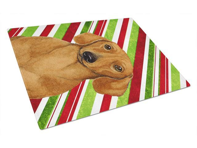 Dachshund Candy Cane Holiday Christmas Glass Cutting Board Large