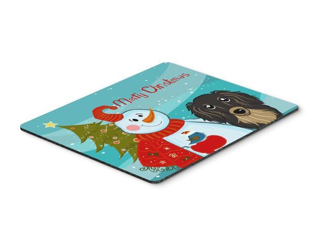 Snowman with Longhair Black and Tan Dachshund Mouse Pad, Hot Pad or Trivet BB1833MP