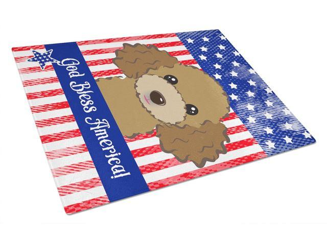 God Bless American Flag with Chocolate Brown Poodle Glass Cutting Board Large BB2186LCB