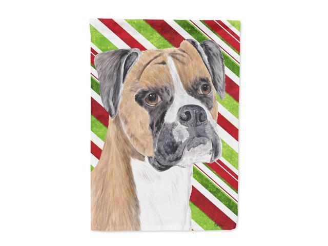 Boxer Candy Cane Holiday Christmas Flag Canvas House Size