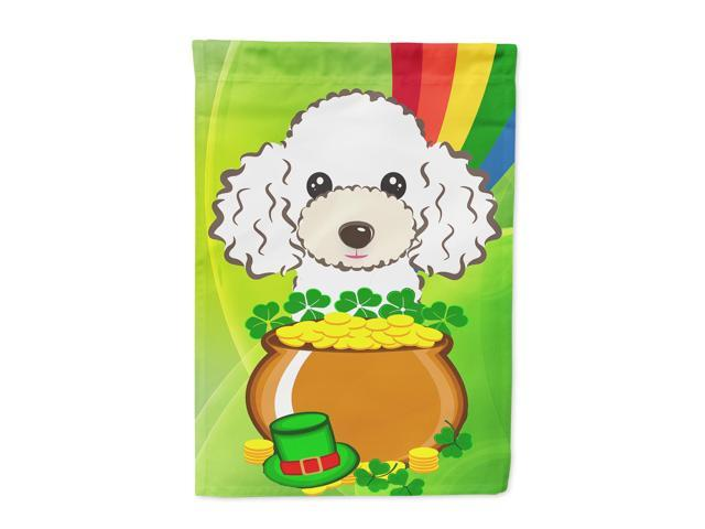 White Poodle St. Patrick's Day Flag Canvas House Size BB2001CHF