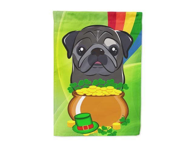 Black Pug St. Patrick's Day Flag Canvas House Size BB2007CHF
