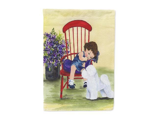 Little Girl with her Bichon Frise Flag Canvas House Size