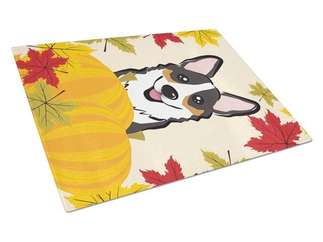 Tricolor Corgi Thanksgiving Glass Cutting Board Large BB2061LCB