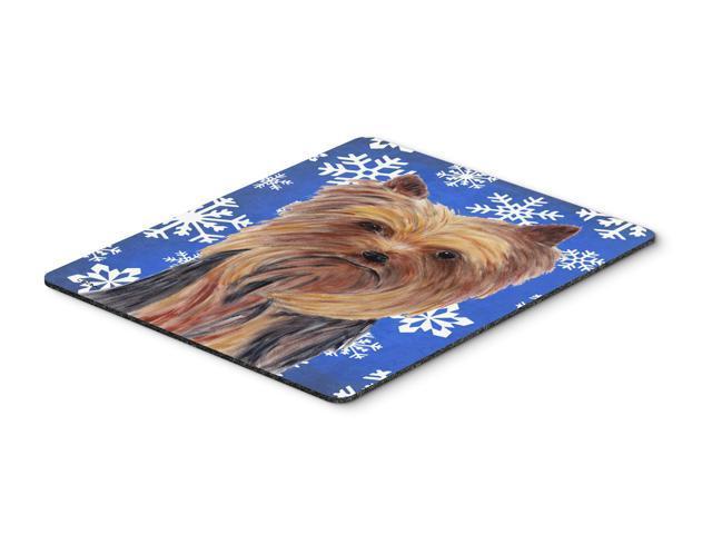 Yorkie Winter Snowflakes Holiday Mouse Pad, Hot Pad or Trivet