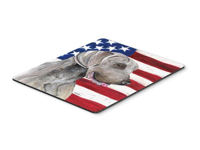 USA American Flag with Weimaraner Mouse Pad, Hot Pad or Trivet