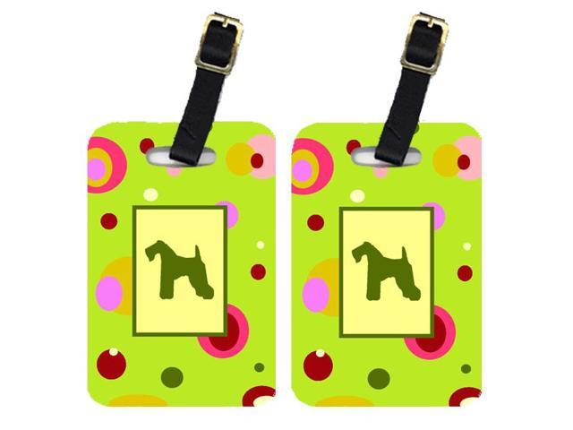 Pair of 2 Kerry Blue Terrier Luggage Tags